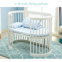 Brand Baby bed eco friendly baby crib round bed EU Style Multifunctional Baby Game Bed Solid Wood Circular Bed chair table