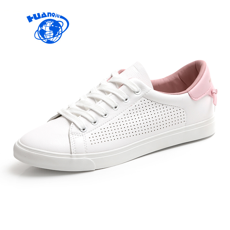 HUANQIU Women White Shoes with Holes Leather Famous Brand Female Casual Shoes Tails 2017 New Fashion Leisure Flats Breathable huanqiu white women vulcanize canvas shoes low breathable female solid color flat shoes casual candy colors leisure cloth shoes