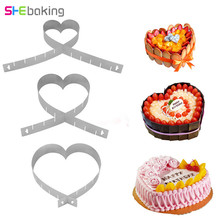 Shebaking 1pc Adjustable Heart Shape Cake Mold Mousse Mould Stainless Steel Baking Molds DIY Fondant Decorating Tools
