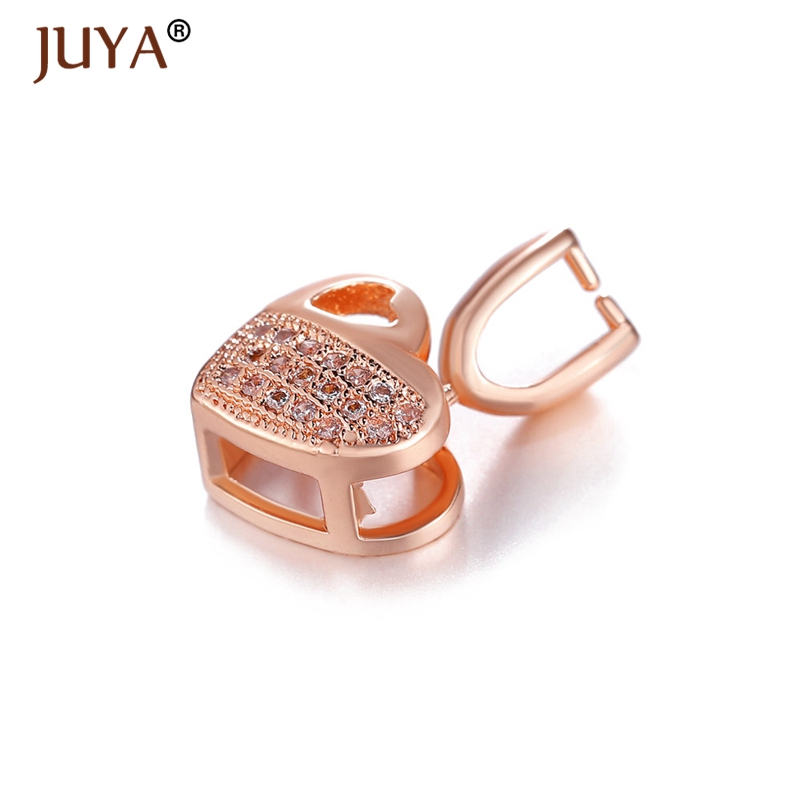 Gold Silver Rose Gold color Plated Jewelry Findings Copper Zirconia Heart Charm Bail Connector Bale Pinch Clasp of Pendant