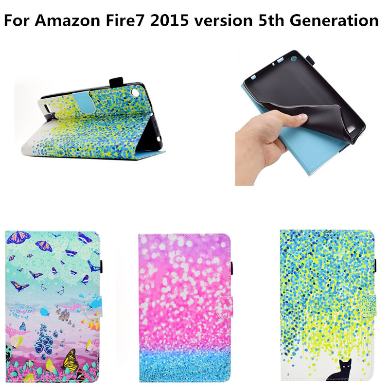 Kids Baby Safe Case For Kindle Fire 7 HD7 2015 version 5th Generation paint PU Leather Cases Cover For Amazon Kindle Fire7 2015