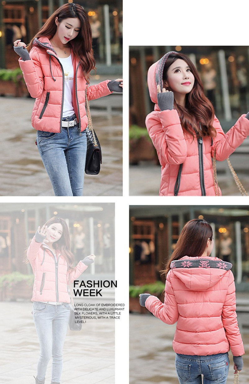 Women Winter Coat Long Sleeve Print Floral Hooded Slim Winter Parka Plus Size Cotton-Padded Jackets 2XL (8)