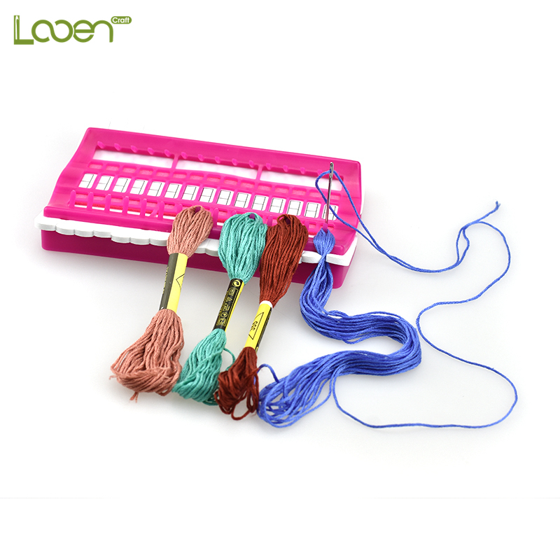 Looen Multi-function Cross Stitch Kits 30 Positions Row Line Tool Green Purple Rose Color Thread Organizer Pincushion Set