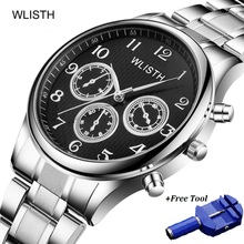reloj WLISTH Men Watch Waterproof Luxury Business Mens Quartz Stainless Steel Watches Clock Relogio Masculino