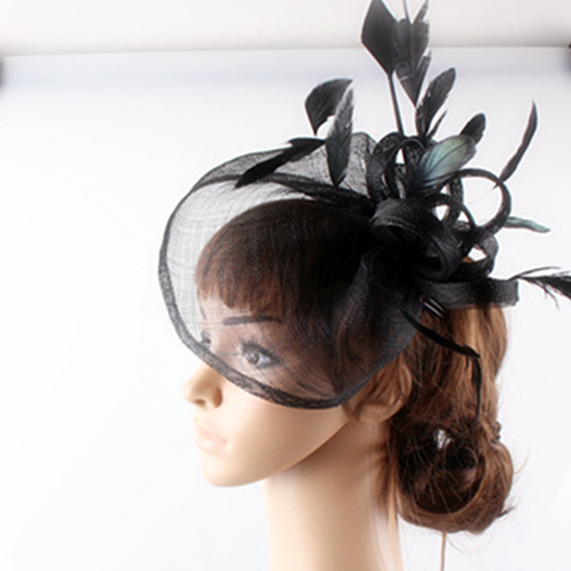 2429bf9aa2473 sinamay hats arrow feather fascinator hair accessories black cocktail race hats  wedding bridal headwear 2018 new multiple colors