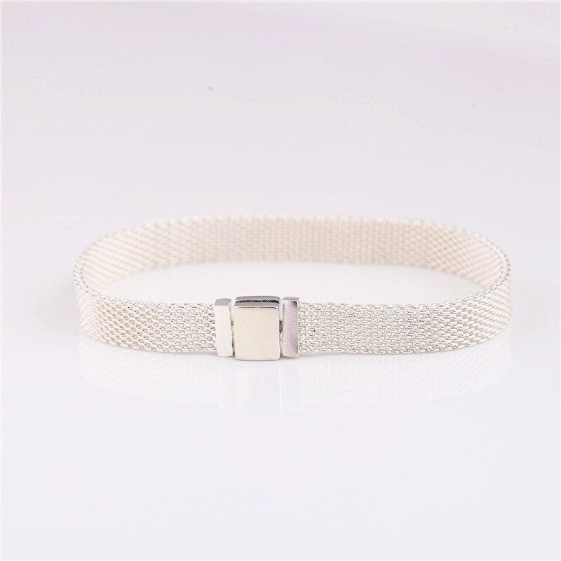 Guaranteed100 % 925 en argent sterling tissé originale brillance réfléchissante bracelet Charme tissé à clip chaîne femelle bricolage pour la série R charme