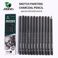 Мари 12 шт угольный карандаш для эскиз картины чертежный карандаш Lapiz набор канцелярских школьные наборы для рисования карандаши для студен...