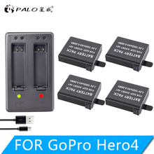 4Pcs AHDBT-401 +  Dual Charger For Gopro Hero 4 Batteries Go Pro Hero4 bateria AHDBT 401 Action camera Accessories