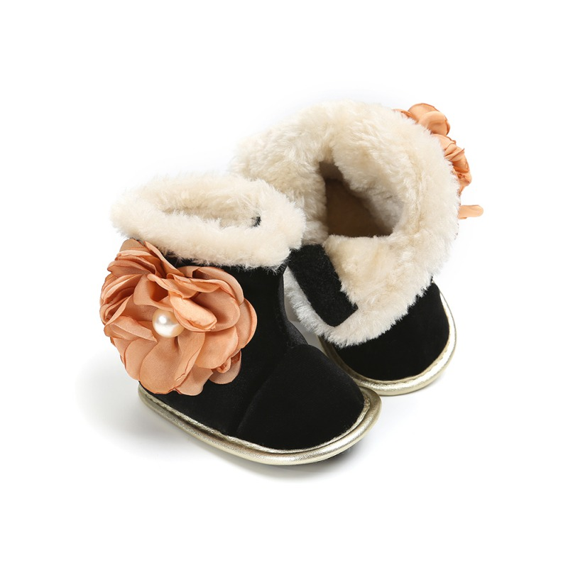 Newborn Baby Girl Shoes Boots Toddler Soft Arctic Velvet Sole Flower Crib First Walker Shoes Warm Anti-slip Infant Winter Boots