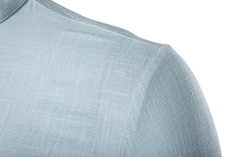 Tunique col Mao bleue clair, manches longues, gros plan