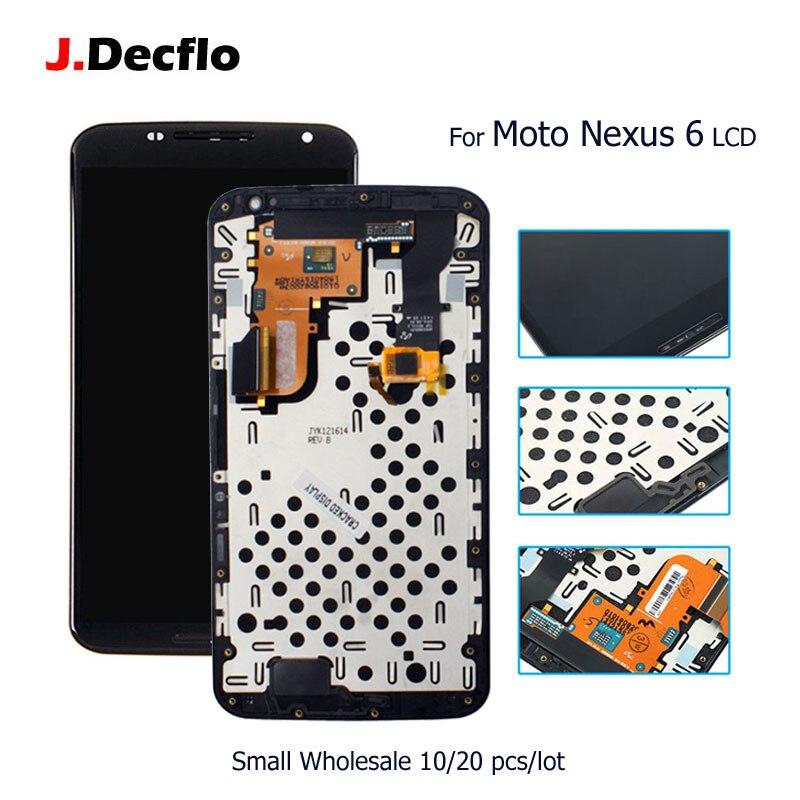 10/20 pcs/lot pour Motorola Moto Nexus 6 XT1100 XT1103 LCD écran tactile numériseur assemblée remplacement avec cadre Orig