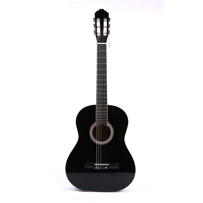 High Quality 39 Basswood Classic Guitar White Bordure Black Guitar Guitarra for Beginner Students Music Lovers