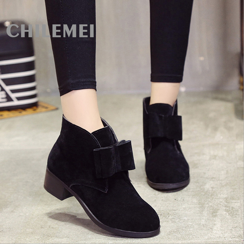 New 2016 Autumn Winter Women Ankle Boots Solid Color Nubuck Soft Leather Square Heel Low Heel Fashion Woman's Shoes women autumn winter boots 2016 new fashion genuine leather shoes woman ankle boots low heel square toe black shoes riding boots