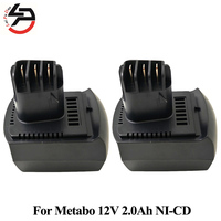2pcs Lot For METABO Replacement Battery 12V 2000mAh NI CD Power Tool BZ 12 SP SSP