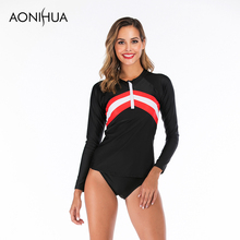 Aonihua 2019 Two Piece Swimsuit Separate Female Swimming Suit For Women Bathing Printed Swimwear Summer Beach Wear S-2XL