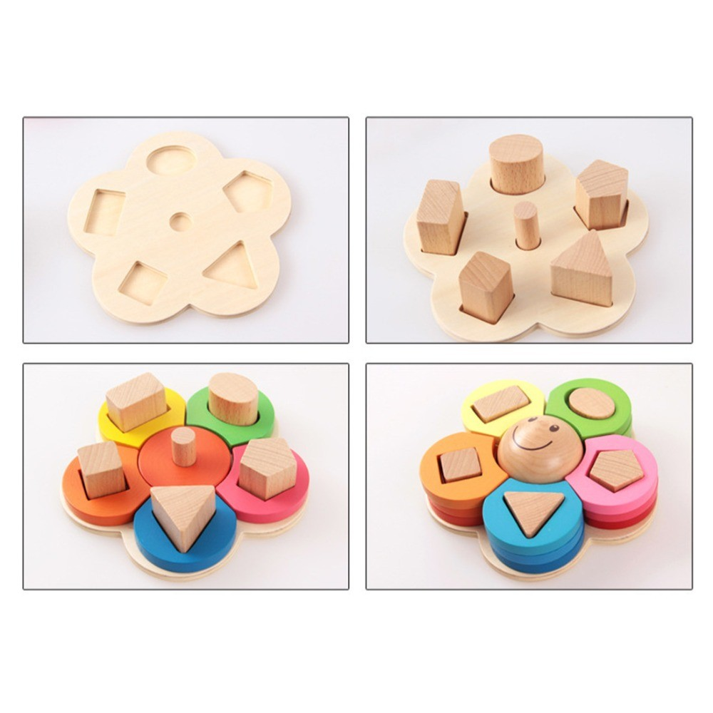 New-kids-toys-Shape-Sorting-Puzzle-Board-Flower-Geometric-Nesting-Stacker-Baby-Toddler-Wooden-Toys-for