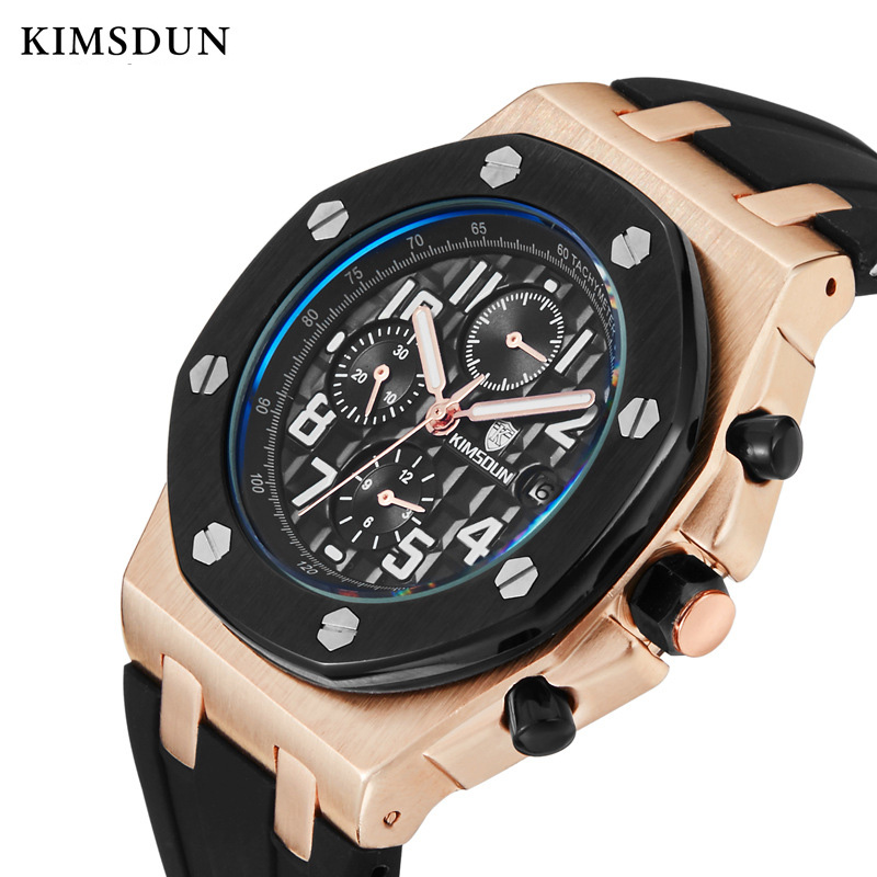 KIMSDUN mechanical watch men Automatic Self Wind Rubber 3Bar Water Resistant mens fashion designer watch Reloj