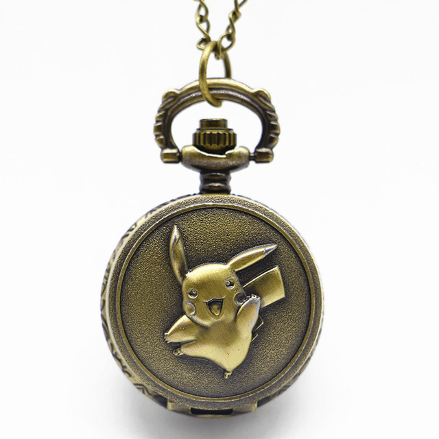 Small Pikachu Anime Design Bronze Pocket Watch Necklace Vintage Bronze Women Gir