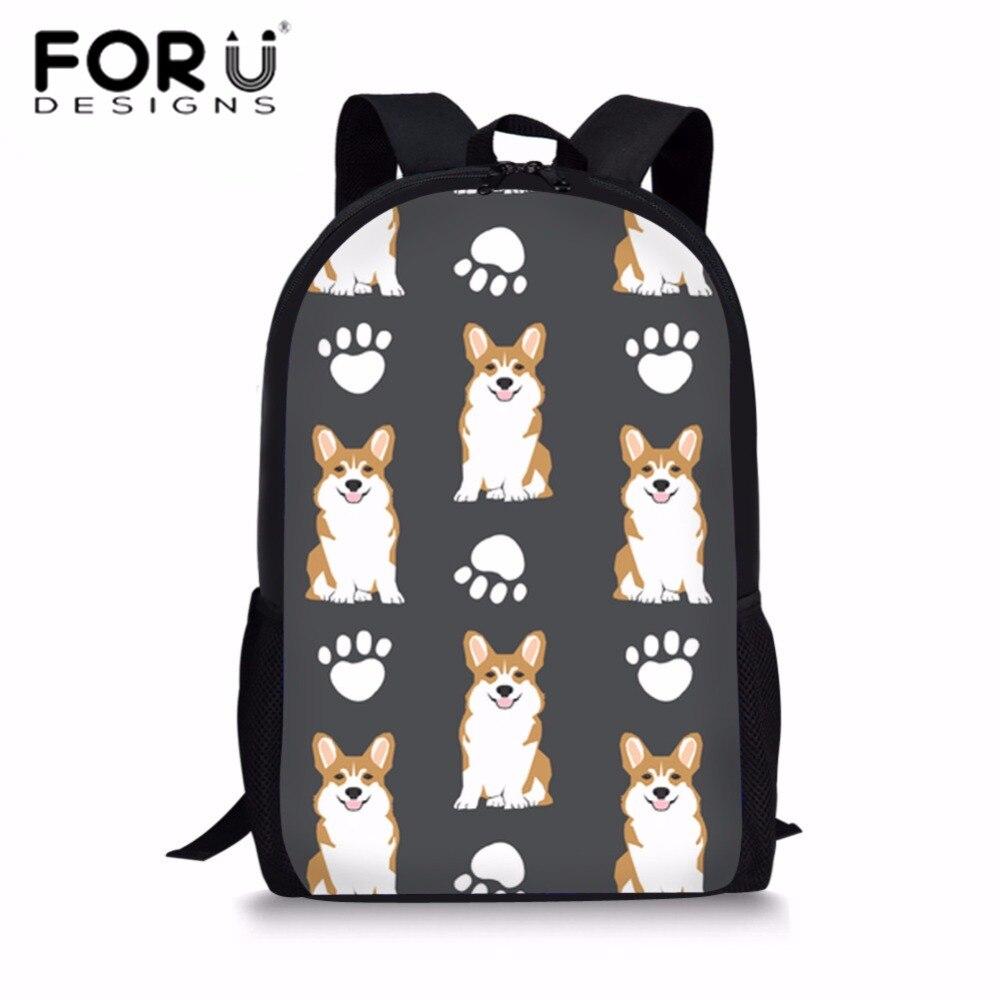 FORUDESIGNS School Bags for Kids Corgi Printing Schoolbag Teenager Girls Shoulder Daypack Children Kawaii School Backpack Bolsa in School Bags from Luggage Bags