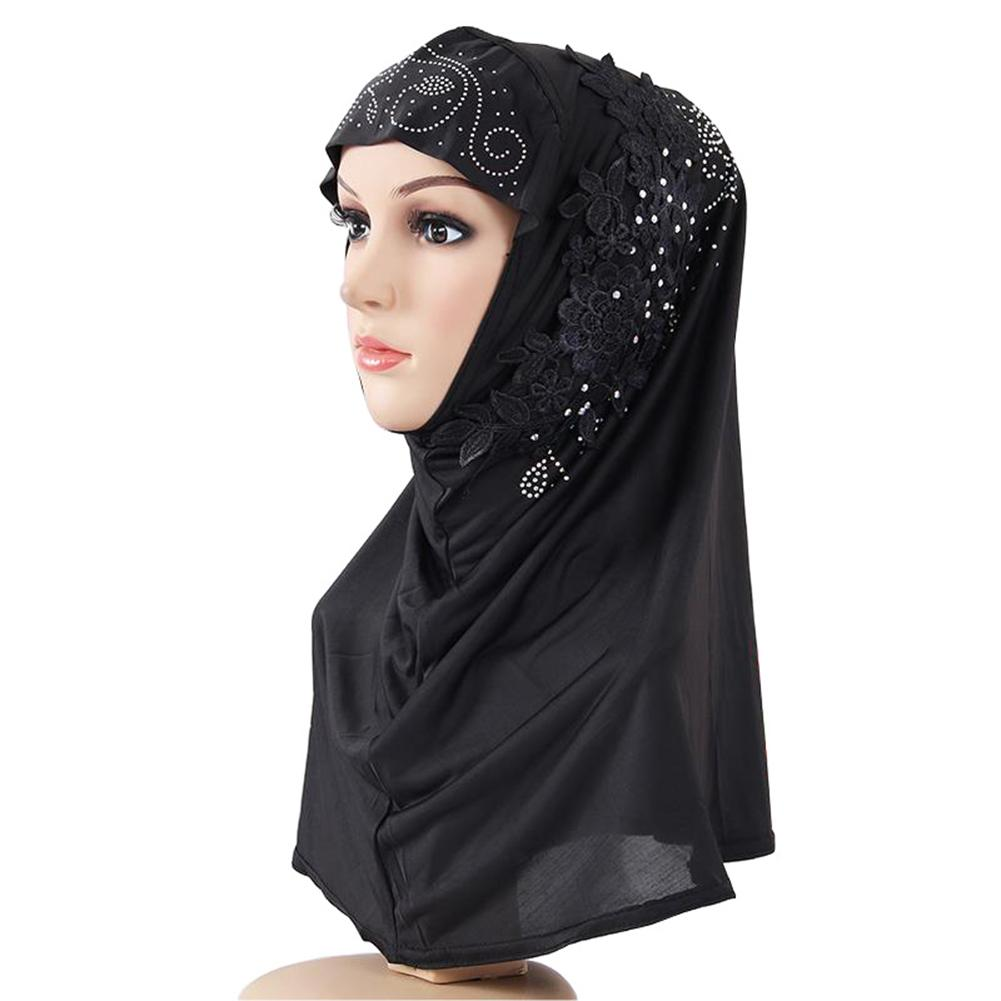 Women Modest Floral Print Scarf Muslim Hijab Fashion Lace Flower Rhinestone Decor Islamic Soft Breathable Hijab Head