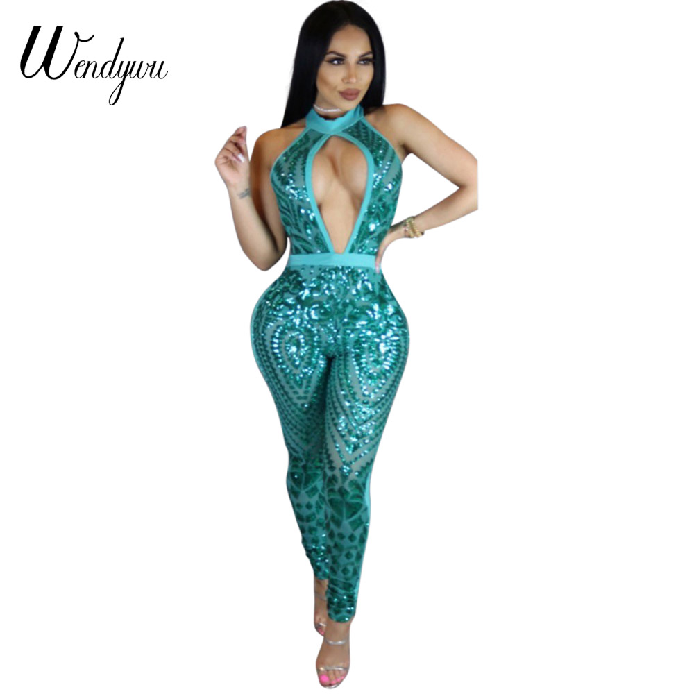 Wendywu New Arrival Sexy Cleavage Halter Solid Blue Sequined Bodycon Long   Jumpsuit   for Women