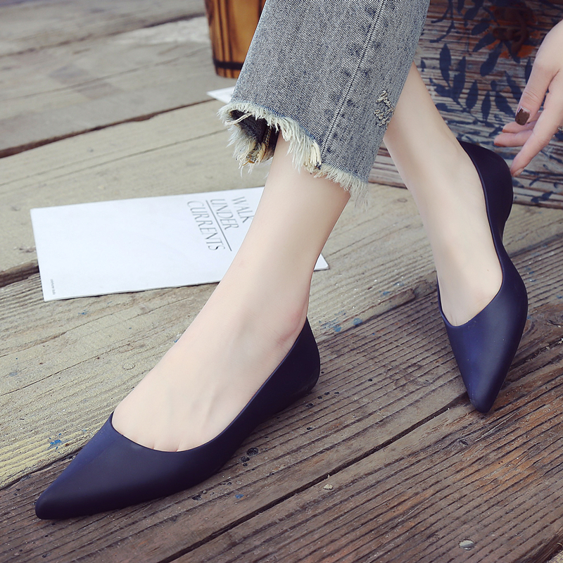 Rain-Shoes Rubber Flat-Heeled Pointed Waterproof Casual Women's Summer