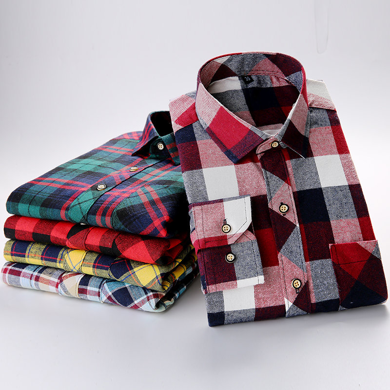 Brand Cotton Flannel Plaid Shirt Men 2019 Autumn New Male Casual Long Sleeve Shirt Plus Size High Quality Warm Men Tops Clothes