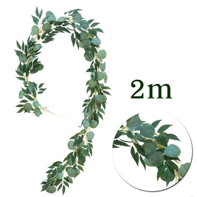 DIY  Silk Hanging Eucalyptus Garland Wedding Party Simulation Wicker Leaves Vine Decorations