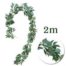 Guirnalda de eucalipto colgante de seda DIY, fiesta de boda, imitación de hojas de mimbre, decoraciones de vid