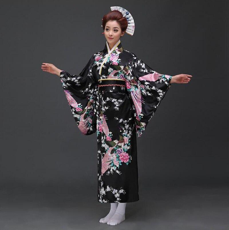 Sexy Black Japanese Women Evening Dress Silk Rayon Kimono Yukata With Obi Dance Dress Cosplay Costume Flower One Size B-023
