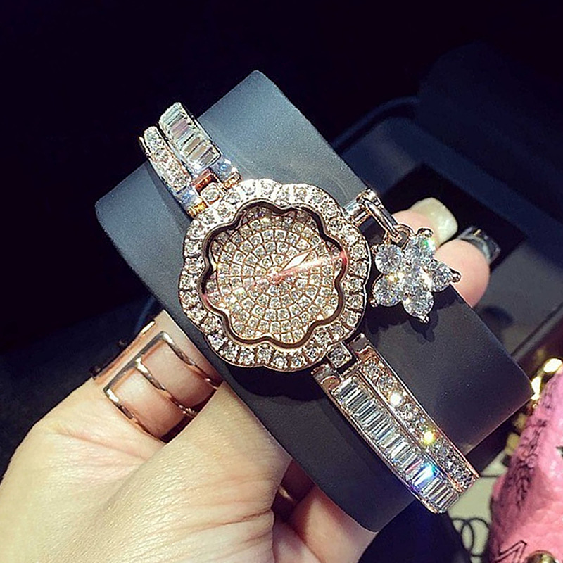 Famous Brand Luxury Women Rhinestone Watch Diamond Women Dress Watch Ladies Flowers Bracelet Relojes Mujer Montre Femme kingsky brand fashion ladies luxury rectangle quartz wristwatches women famous brand rhinestone watch relojes mujer montre femme