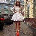 Encaje Blanco Marfil Una Línea de Cuchara Mangas Largas 2016 STD Con Encanto Vestidos de Fiesta Corto Mini Vestido de Cóctel Vestido De Partido Del Vestido