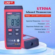 UNI T UT306A صغيرة الأشعة تحت الحمراء ميزان الحرارة 35 ~ 300C  31 ~ 572F الرقمية IR جهاز قياس درجة الحرارة مع عقد البيانات وشاشة LCD الخلفية
