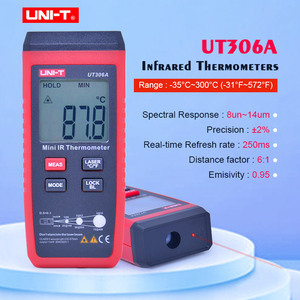 Image 1 - UNI T UT306A Mini Infrared Thermometer  35~300C  31~572F Digital IR temperature tester with Data hold & LCD backlight display