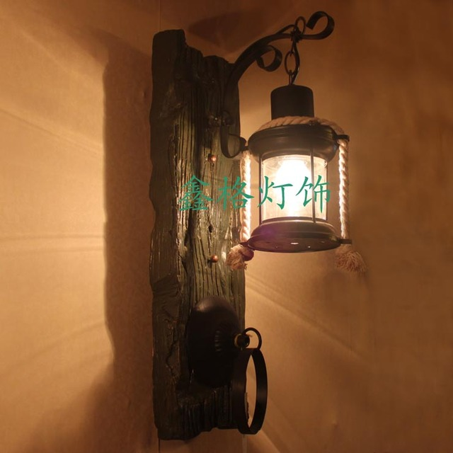 Chinese style antique wooden resin wall lamp bedroom lamp bar lights aisle lights entrance lights american style living room
