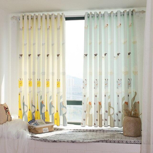 Girafe Avec Elephant Bande Dessinee Impression Ombrage Court Polyester Coton Rideau Tissu Chambre Enfants Rideaux D Ombrage