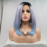 Fantasy Beauty Synthetic Bob Wig Short Straight Hair Lace Front Wigs Shoulder Length Ombre Wig 3 Tone Color Dark Roots