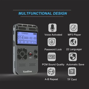 Image 2 - Vandlion profesjonalnego aktywowana głosem cyfrowy audio dyktafon 16GB PCM nagrywanie długi na baterie życie MP3 odtwarzacz muzyczny V35