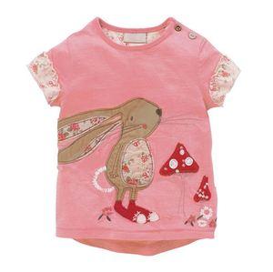 Camisetas para niñas de 1, 2, 3, 4, 5, 6 años, camisetas de manga corta de algodón, camiseta de bebé niña de verano 2019, camisa para niños de dibujos animados de conejo Rosa bonito