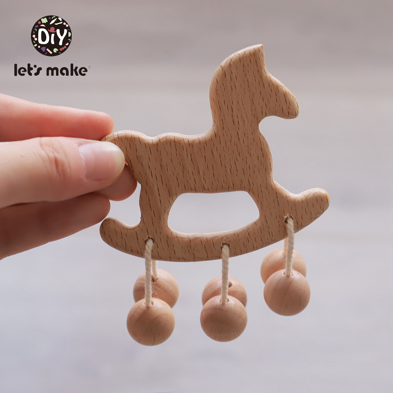 Baby Toys Beech Wooden Teething Cloud Cartoon Horse Wooden Beads Children Stroller Toy Making Noise Rattle Gift DIY Baby Rattles