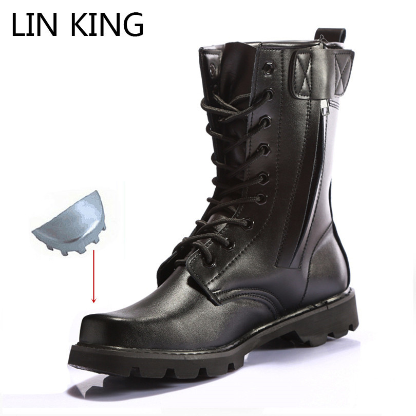 LIN KING Black Men's Work Safety Boots Steel Toe Construction Protective Footwear Shoes Waterproof Lace Up Male Motorcycle Boots image