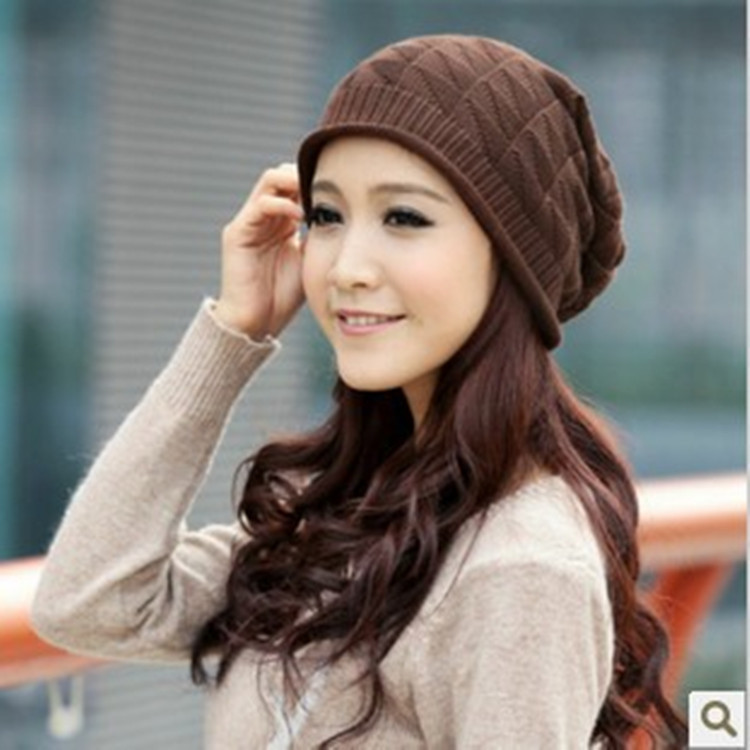 Winter women knitting set of head cap 2014 fashion 4 color beanie girls  fall leisure hat and caps keep warm-in Skullies   Beanies from Apparel  Accessories ... 6c4155af713
