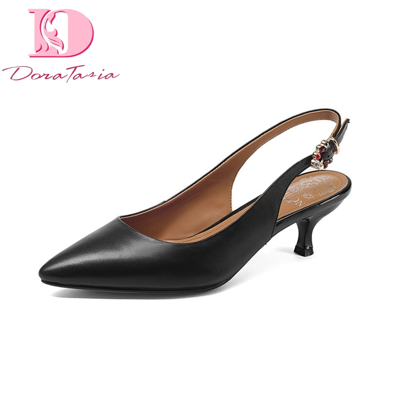 Doratasia Brand New Genuine Leather Buckle Strap Thin Med Heels Solid Best Quality Shoes Woman Fashion