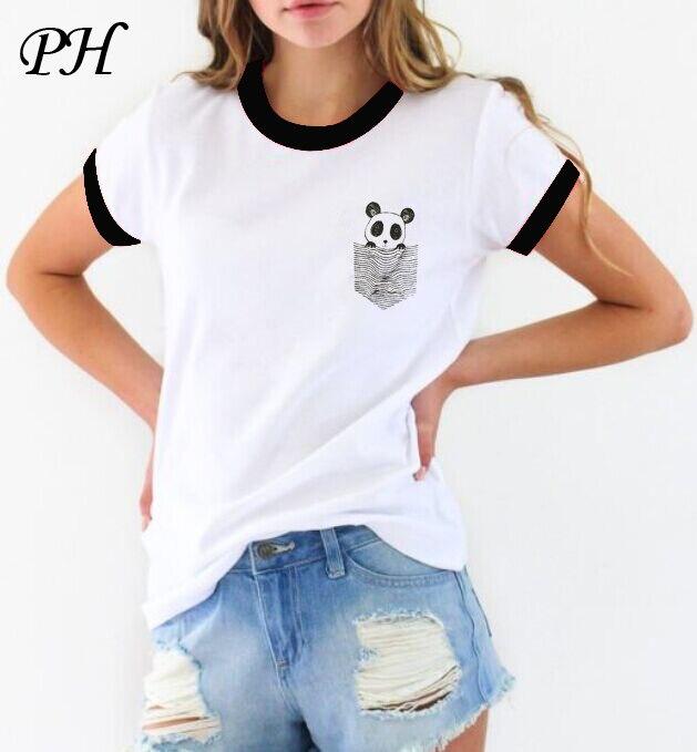 2016 Summer Fashion Women T Shirt Harajuku Funny Pocket Panda Print Tshirt Short Sleeve T-Shirts Lady Girls Basic Tee Tops