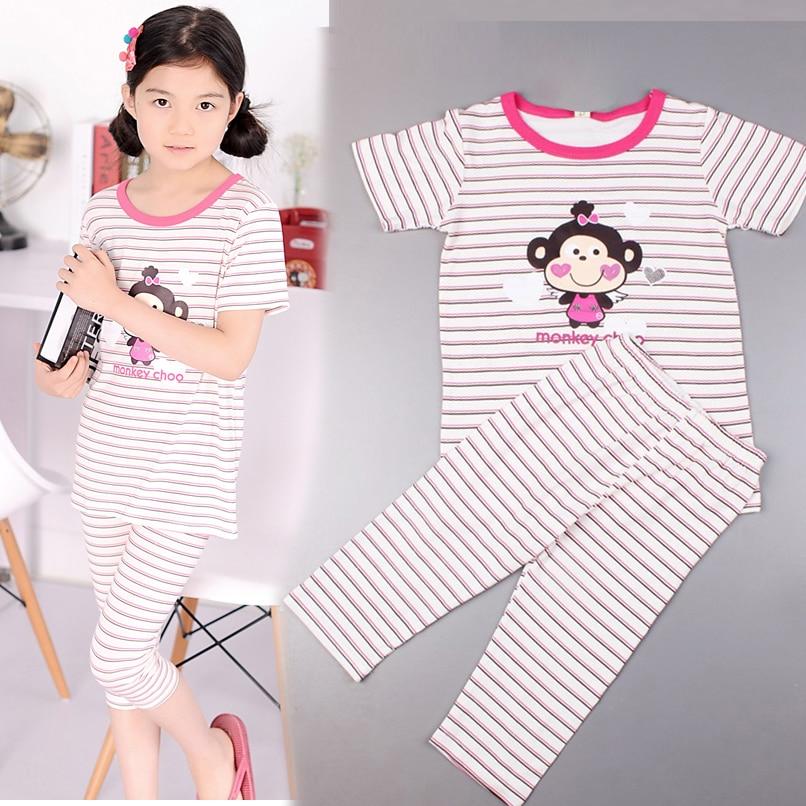 Sommer Pyjama Stellt Cartoon Affe Mädchen Nachtwäsche Casual Kinder Kurzarm Pyjama Sets Striped Babykleidung Stellt Vestido 4-12
