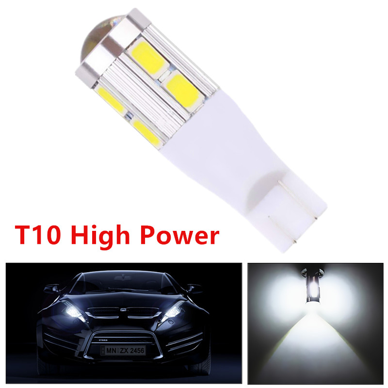T10 SAMSUNG 5630 Emitter High Power Lamp 10 LED Projector DRL Light Bulbs Xenon White T15 168 921 w5w interior Lights 12V