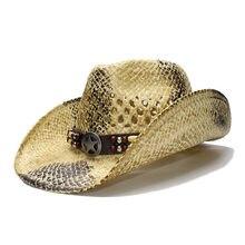LUCKYLIANJI Retro Dos Homens das Mulheres de Verão chapéu de Palha Praia  Grande Aba do chapéu de Cowboy Ocidental Cowgirl Hat Es.. cd8613f5b91