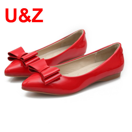 New 2 Layers bows Patent leather shoes for student Spring Women flats(Black/Beige/Red)Autumn Casual Shoes Fashion Female shoes
