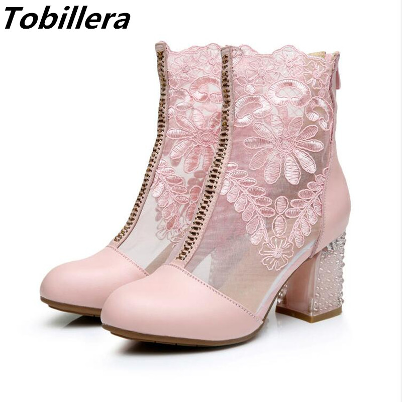 Tobillera Spring Summer Newest Mesh Boots In Medium Thick Heels 2 Styles Close and Open Toe