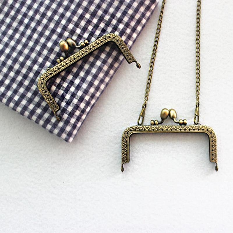 Coin Metal Purse Frame Making Kiss Clasp Lock for Clutch Bag Handle Handbag Accessories Bronze Tone Bags Hardware 8.5cm- 20.5cm